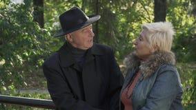Dois pares maduros dos povos estão conversando em um banco de parque filme