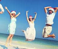 Dois pares que comemoram o conceito do verão do Natal da praia foto de stock