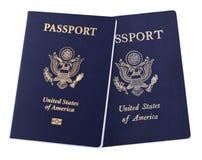 Passaportes americanos isolados Fotografia de Stock