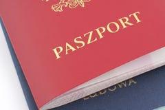 Dois passaportes poloneses Fotos de Stock Royalty Free