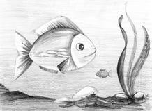 Dois peixes Esboço tirado mão do lápis ilustração do vetor
