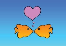 Dois peixes no amor ilustração royalty free