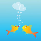 Dois peixes no amor Foto de Stock Royalty Free