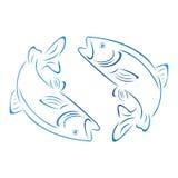 Dois peixes, trutas junto, peixes e logotipos da pesca ilustração do vetor