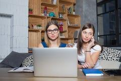 Dois peritos do planeamento empresarial das mulheres que criam o projeto novo usando o rede-livro e o telefone celular imagem de stock