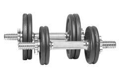Dois pesos diferentes do metal do preto do gym para a aptidão isolados em um fundo branco fotos de stock