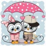 Dois pinguins bonitos com o guarda-chuva sob a chuva ilustração royalty free