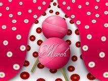 Dois pirulitos cor-de-rosa formam figura oito em um fundo colorido com flores ilustração stock