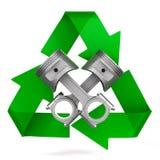 Dois pistões e símbolos do motor reciclados no fundo branco Ilustra??o 3d isolada ilustração do vetor