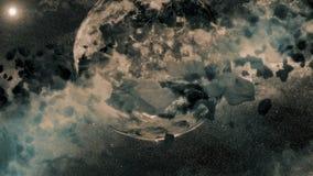 Dois planetas - campo asteroide ilustração royalty free