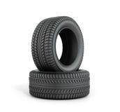 Dois pneus de borracha pretos Imagens de Stock