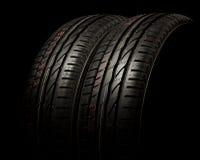 Dois pneus fecham-se acima Foto de Stock