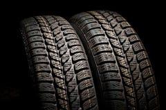 Dois pneus fecham-se acima Fotos de Stock Royalty Free