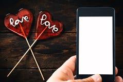 Dois PNF do lolly da forma do coração Imagem de Stock
