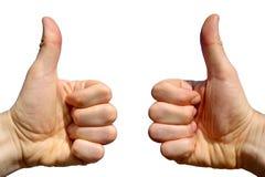 Dois polegares acima. Imagens de Stock