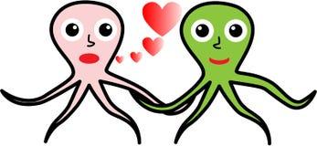 Dois polvo no amor Imagem de Stock