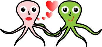 Dois polvo no amor para o dia de Valentim Ilustração Royalty Free