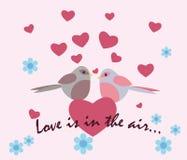 Dois pombos com corações do amor Ilustração Stock