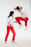Dois povos engraçados isolados no fundo branco fotografia de stock royalty free