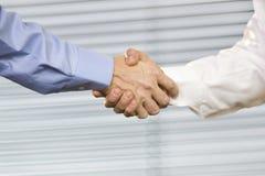 Dois povos que agitam as mãos Fotografia de Stock Royalty Free