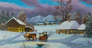 Dois povos que sentam-se em um transporte puxado por cavalos ilustração do vetor