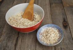 Dois pratos da farinha de aveia seca Imagens de Stock Royalty Free