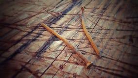 Dois pregos oxidados Fotografia de Stock