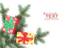 Dois presentes de Natal Imagem de Stock