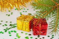 Dois presentes do Natal Fotografia de Stock