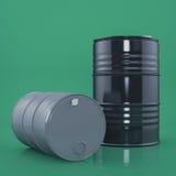 Dois pretos e o metal cinzento barrels no fundo da cor verde Front View Imagem de Stock