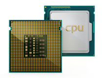 Dois processadores centrais isolados no fundo branco ilustração 3D Imagem de Stock Royalty Free