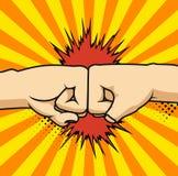 Dois punhos que colidem junto a ilustração do vetor, duas mãos com os punhos no ar que perfura, conceito da luta, desenhos animad foto de stock