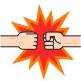 Dois punhos que colidem junto o vetor, mãos na perfuração do ar ilustração royalty free