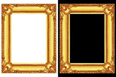 dois quadros dourados isolados em preto e branco Fotografia de Stock