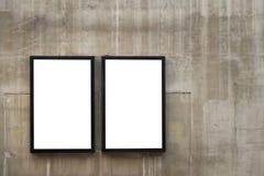 dois quadros ou cartazes vazios do quadro de avisos na parede foto de stock royalty free