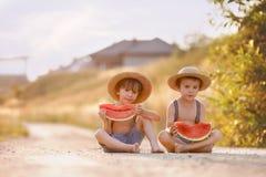 Dois rapazes pequenos bonitos, comendo a melancia em um trajeto da vila rural Fotografia de Stock Royalty Free