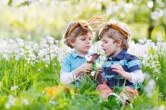 Dois rapazes pequenos que vestem as orelhas do coelhinho da Páscoa e que comem o chocolate Foto de Stock
