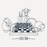 Dois ratos bonitos que jogam a xadrez, o relógio dos papagaios e comutam o tempo ilustração do vetor
