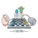 Dois ratos bonitos que jogam a xadrez, o relógio dos papagaios e comutam o tempo ilustração royalty free