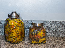 Dois recipientes da massa no contador de cozinha Foto de Stock Royalty Free