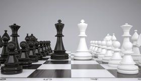 Dois reis no meio de um tabuleiro de xadrez ilustração do vetor