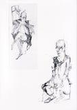 Dois retratos de dois povos de assento Imagens de Stock Royalty Free