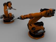 Dois robôs Imagens de Stock Royalty Free