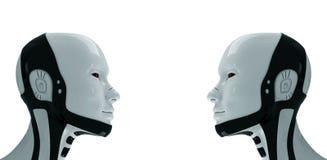 Dois robôs futuros. 3d Imagem de Stock