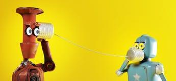 Dois robôs retros com os telefones da lata de lata 3d rendem ilustração royalty free