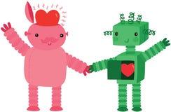 Dois robôs no amor Fotos de Stock Royalty Free