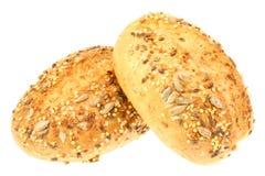Dois rolos de pão isolados no branco. foto de stock royalty free