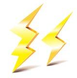 Dois símbolos do relâmpago do trovão Fotografia de Stock Royalty Free