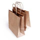 Dois sacos de papel no fundo branco Fotos de Stock