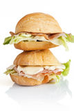 Dois sanduíches Fotos de Stock Royalty Free